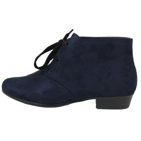 280337c0fd3 Navy Closed Toe Lace Up Low Heel Ankle Boot